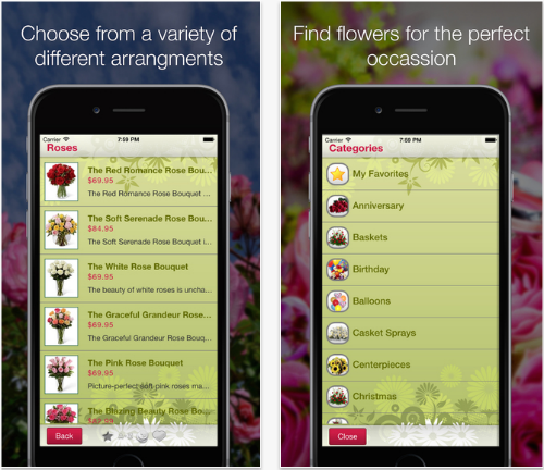 Mobile Florist flower delivery app.