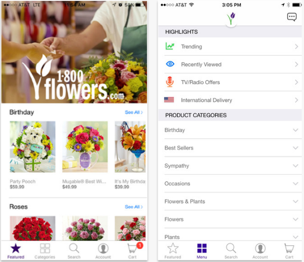 1-800-Flowers flower delivery app.