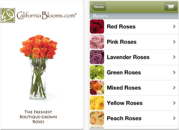 California Blooms flower delivery app.