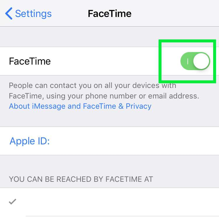 FaceTime global device toggle iPhone