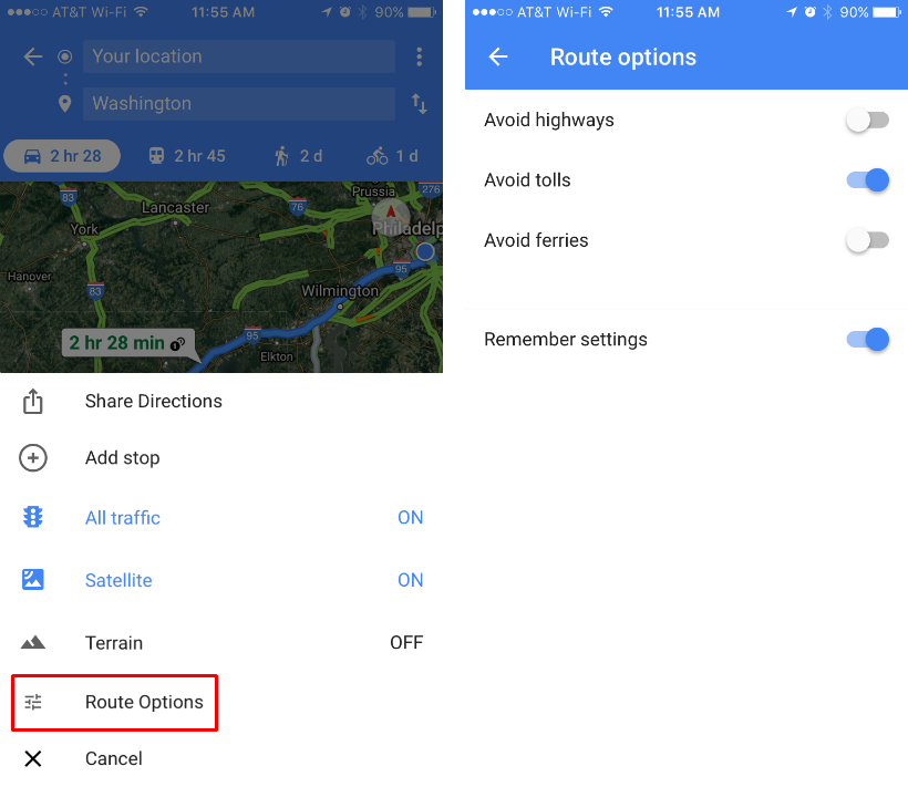 How to avoid tolls, highways and ferries with Google Maps for your iPhone.