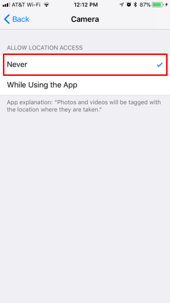 How to turn off geotagging on iPhone camera.