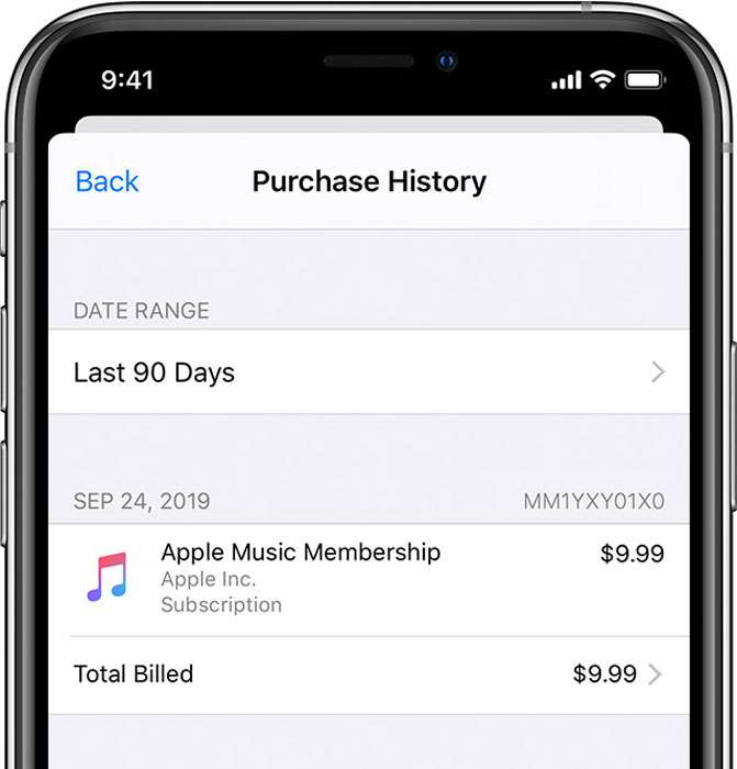 Purchase history Apple ID