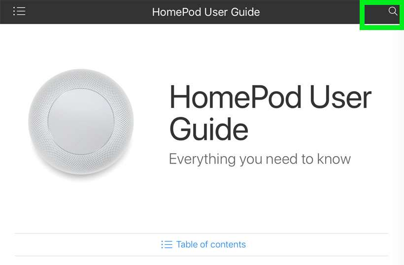HomePod User Guide Search