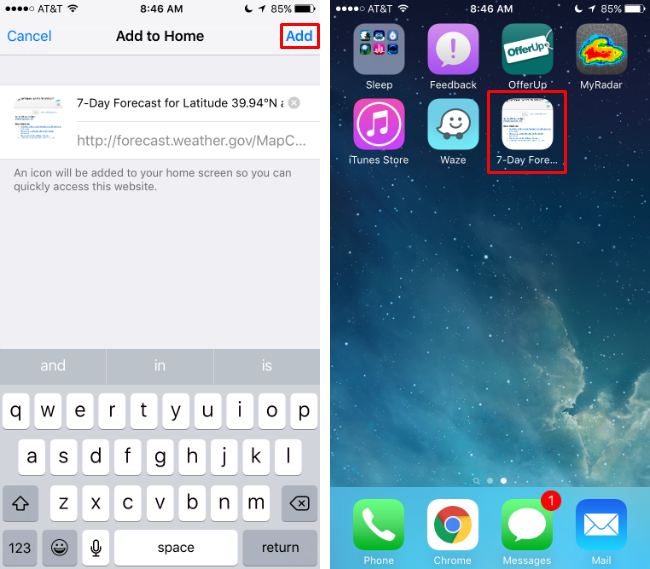How to add a web page shortcut to your Home Screen on iPhone.