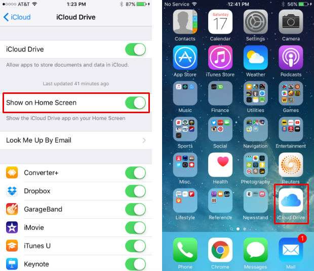 How to enable the iCloud Drive app.