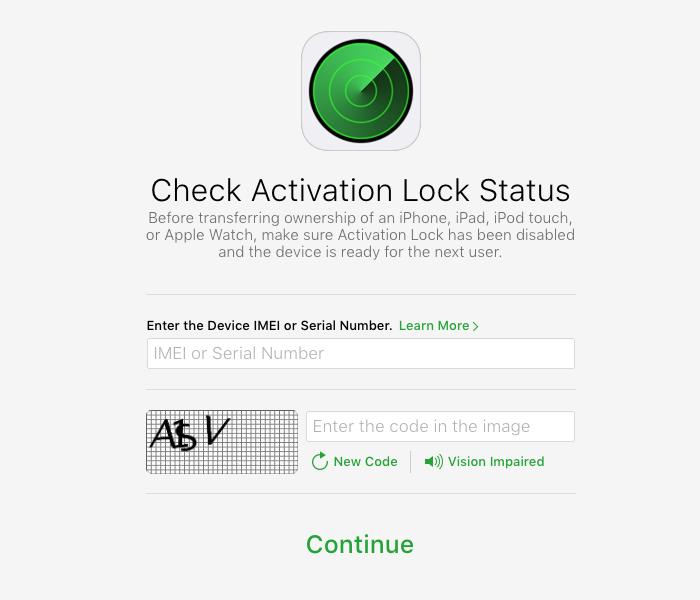 iCloud Activation Lock status iOS