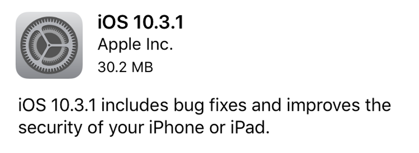 OTA update iOS 10.3.1 iPhone