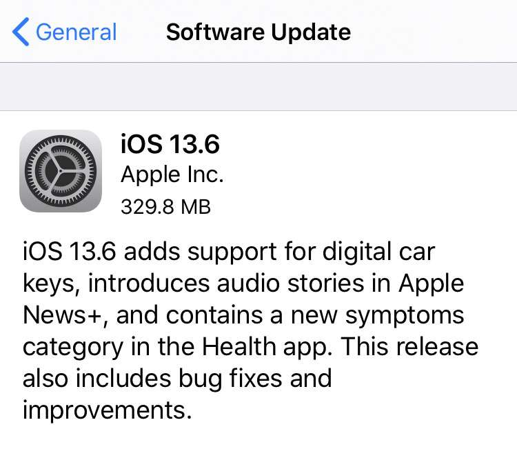 Apple iOS 13.6