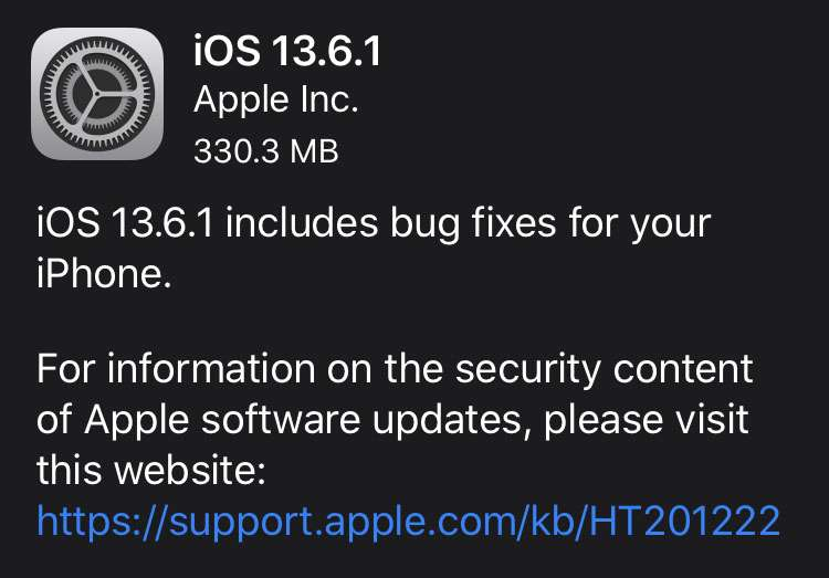 iOS 13.6.1 update dark