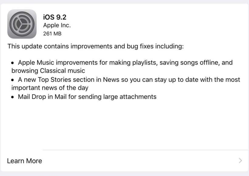 iOS 9.2 Changelog