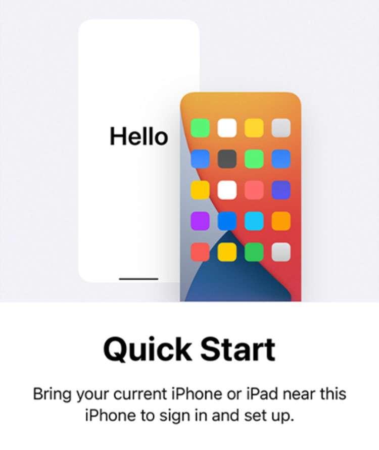 iPhone Quick Start wireless data transfer