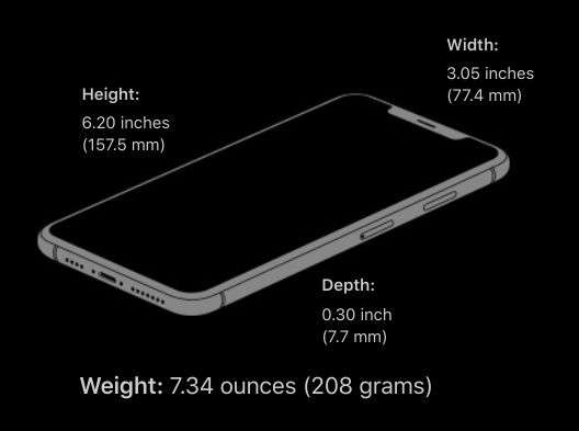 iPhone XS Max Size and Weight