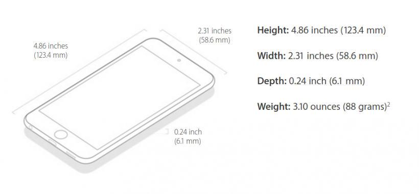 iPod touch Dimensions