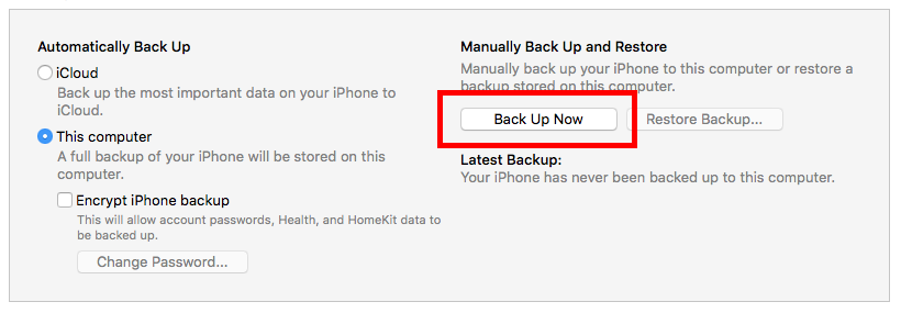 iTunes run local iOS backup