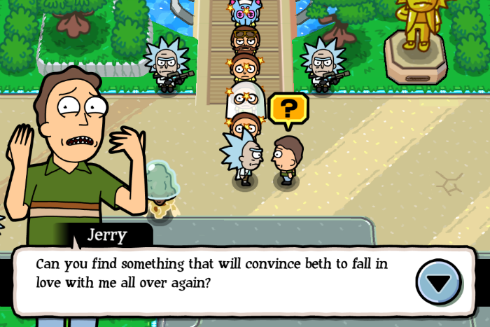 What item do i give jerry in pocket mortys the iphone faq for Rick and morty craft list