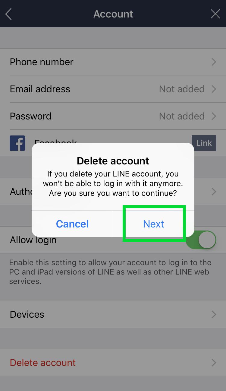 Delete LINE account 5
