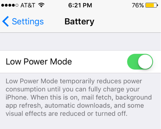 Image result for iphone low power mode