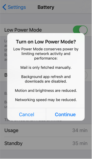iOS 9's Low Power Mode will extend battery life.