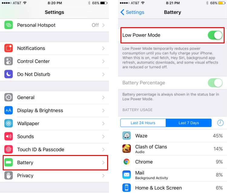 How to turn on Low Power Mode in iOS 9.