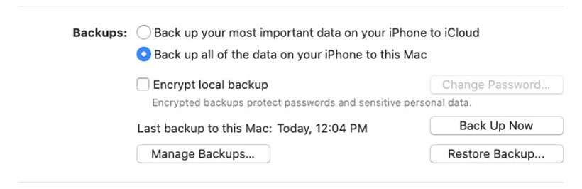 macOS iPhone backup Finder