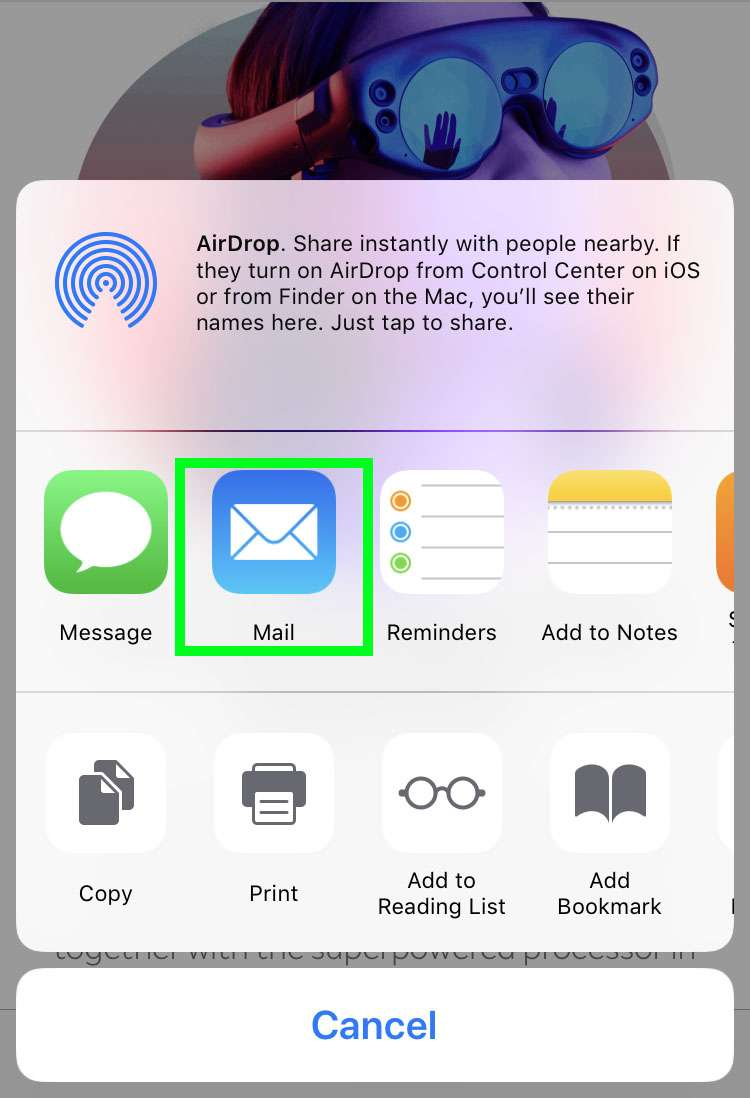 iOS share sheet Mail