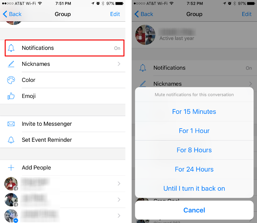 How to mute or leave a Facebook Messenger conversation on