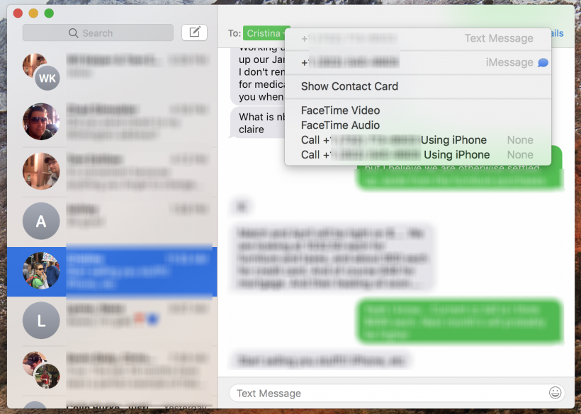 How to send Messages to a contact's alternate phone numbers on Messages for Mac.