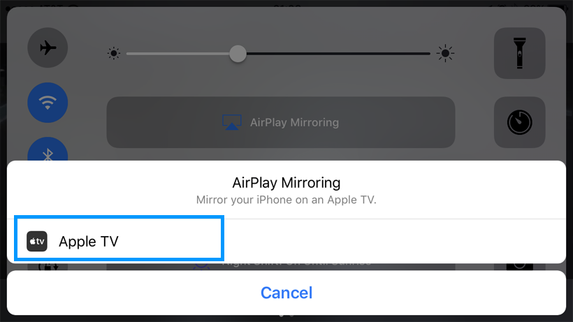 AirPlay Mirroring select device