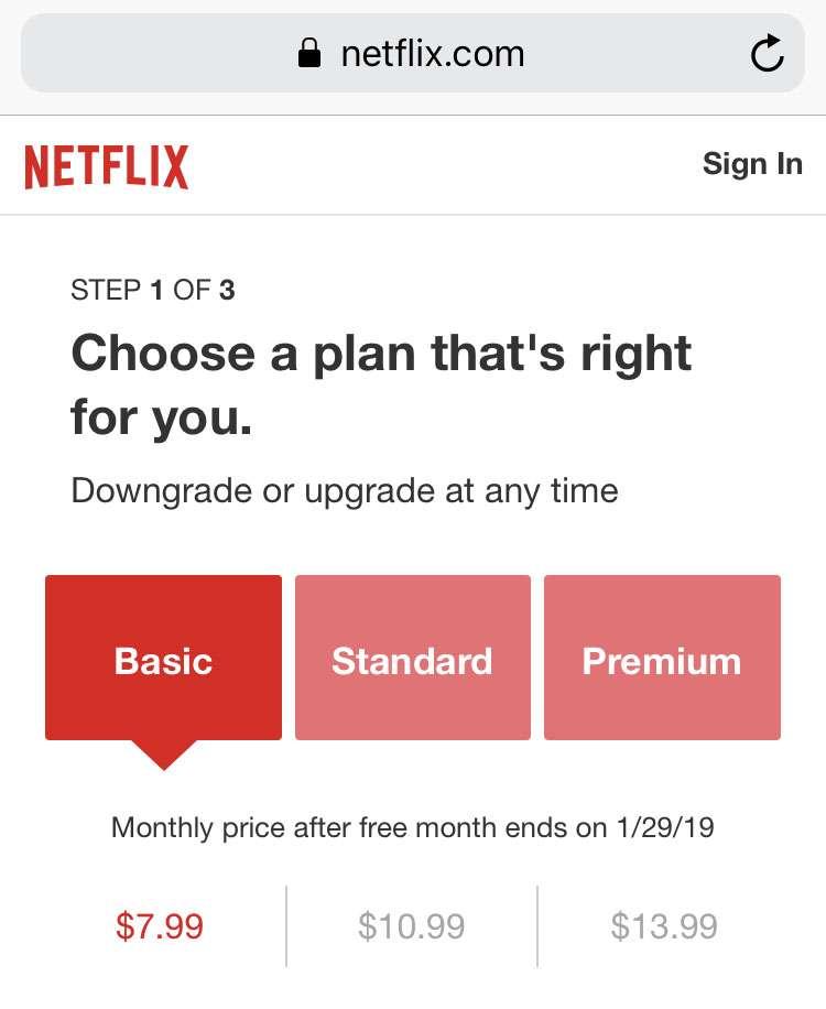 Netflix sign up Safari