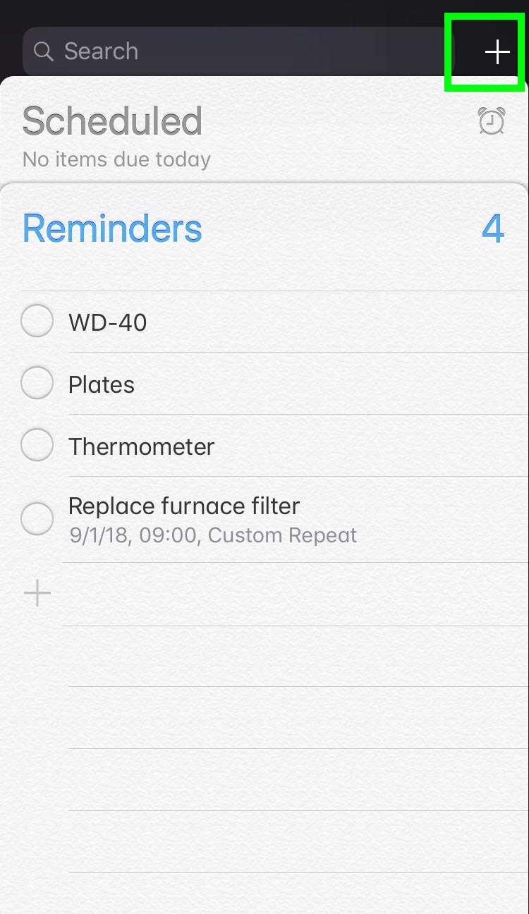 New list Reminders 2
