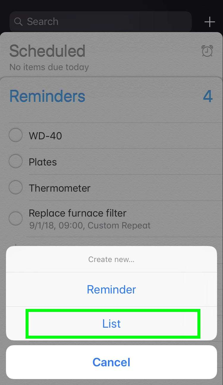 New list Reminders 3