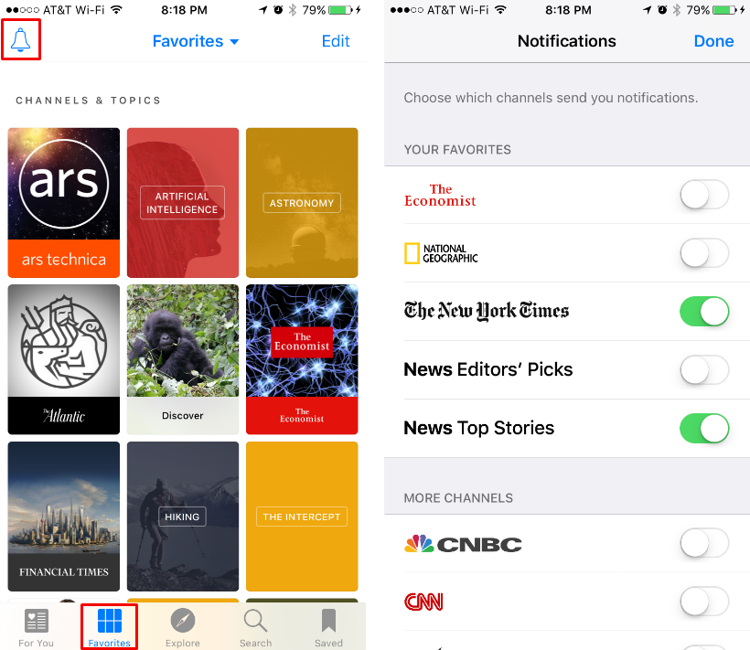 How to turn on/off notifications for individual channels in the iOS News app.