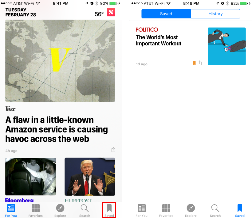 How to save a story for later in the iOS News app.