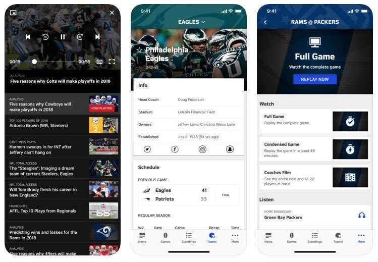NFL app iOS