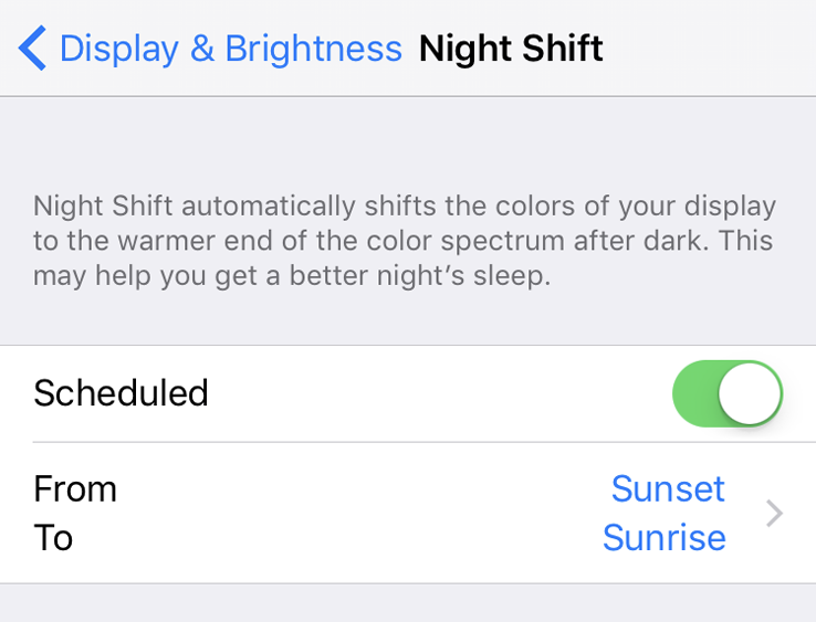 Night Shift automatic schedule