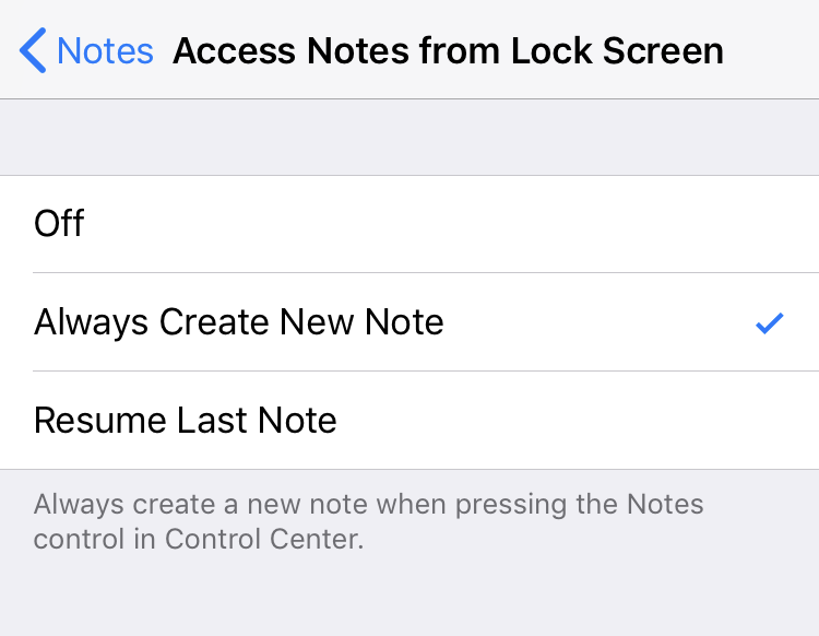Notes settings lock screen