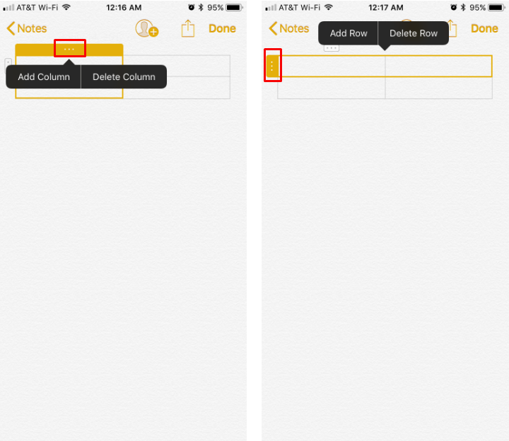How to create tables in Notes on iPhone and iPad.