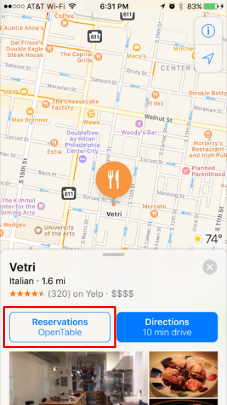 How to use OpenTable in Apple Maps.