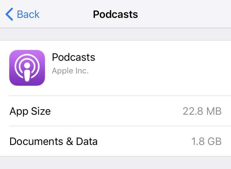 Podcasts iPhone storage