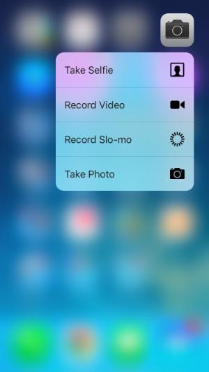 Quick Action menu for Camera app.