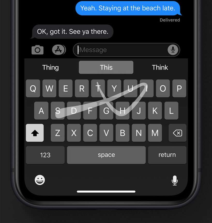 QuickPath Typing iPhone