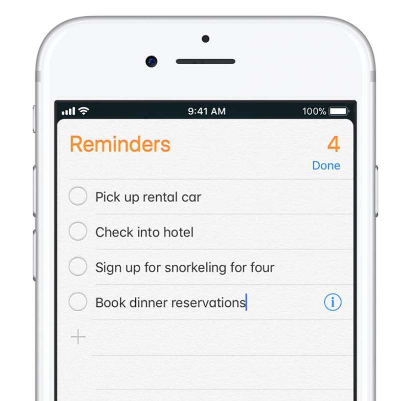 Reminders list iOS