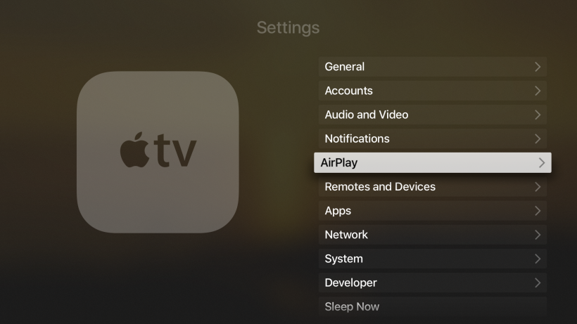 AirPlay Settings Apple TV