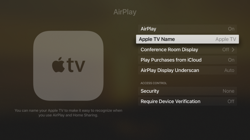 Network name Apple TV