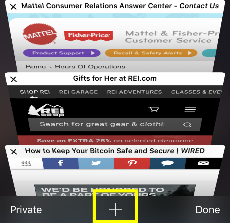 Safari tabs add
