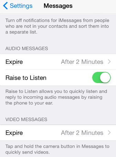 iOS 8 Audio Messages Settings