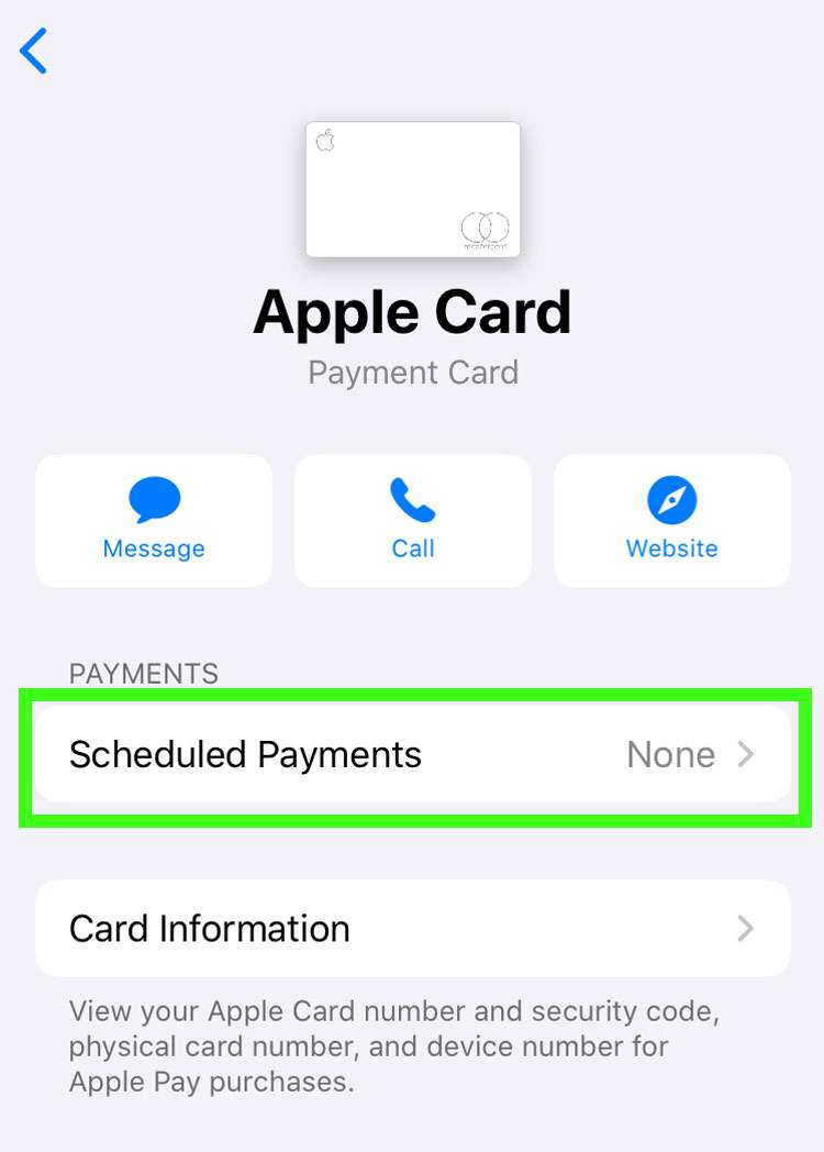 Apple Card automatic payments 2