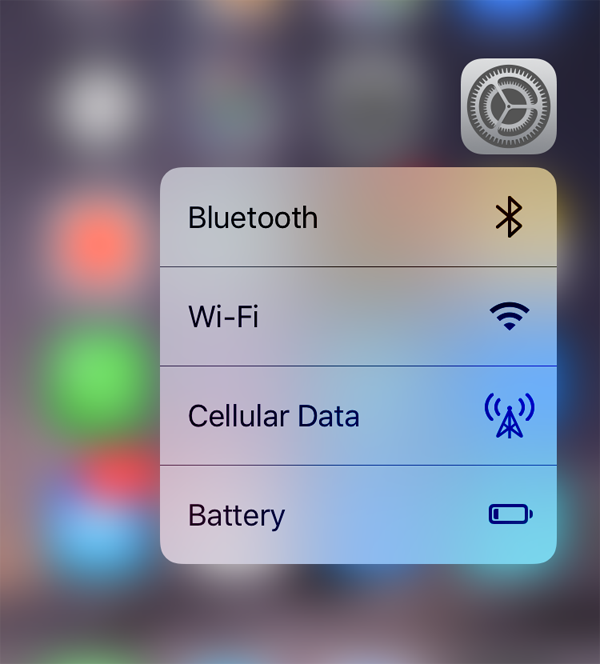 3D Touch Settings iOS