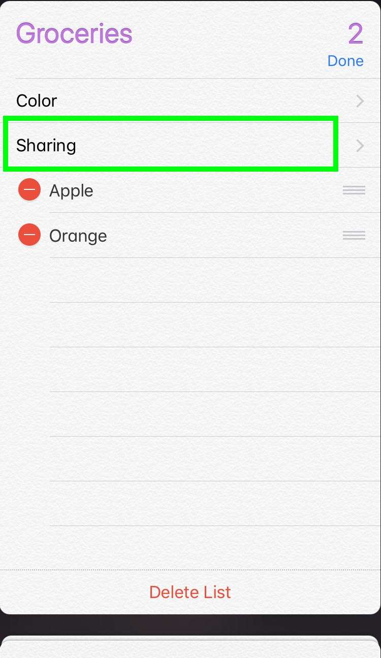 Share Reminders iCloud 2